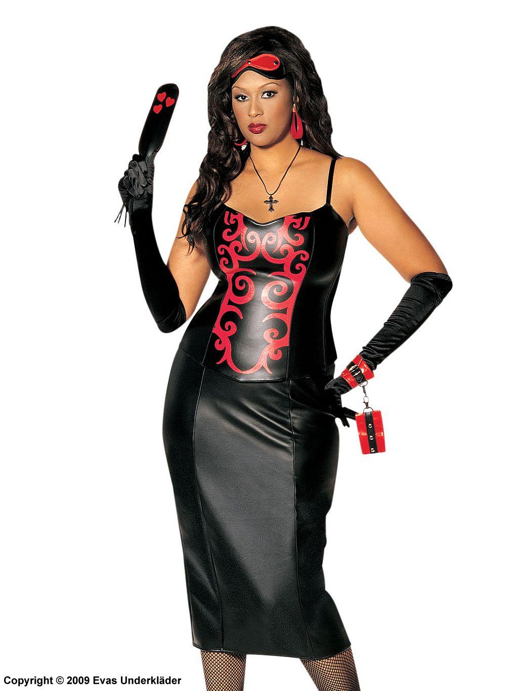 2c31a7c3e923c Dominatrix costume with faux leather corset